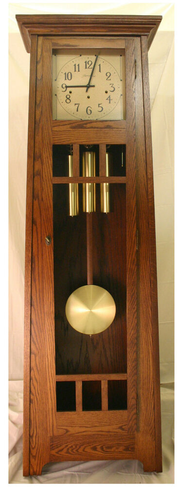 American Made Mission Oak Grandfather Clock By Stoneybrook