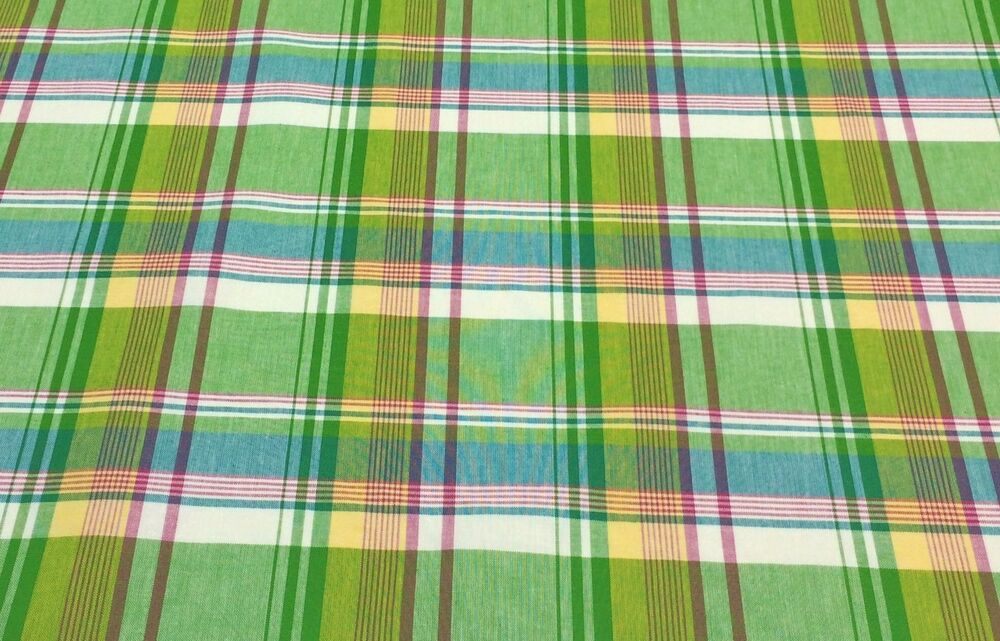 Waverly Limeade Plaid Pink Green Turquoise Stripe Fabric
