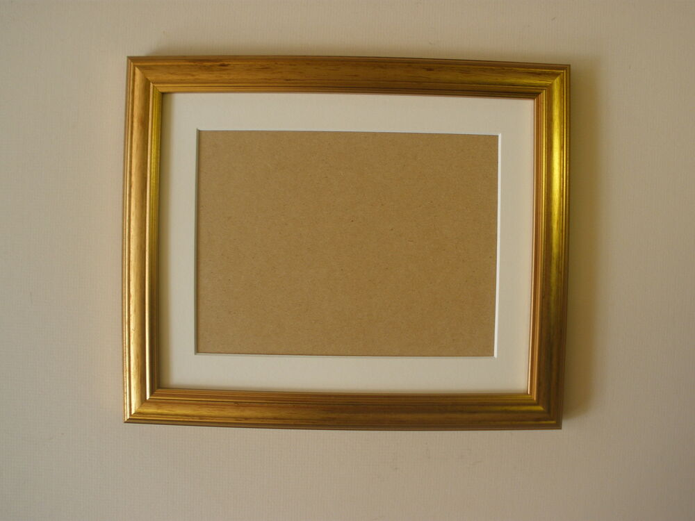 gold wooden picture frame with mount and glass ebay