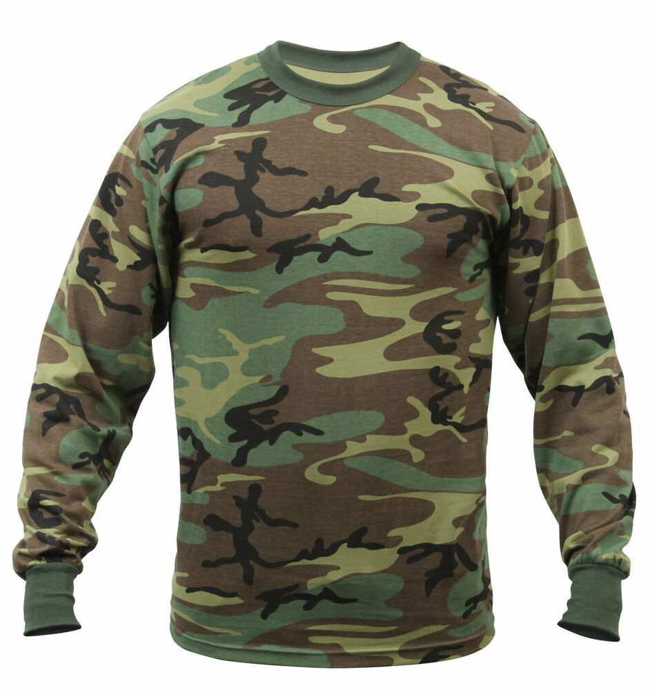 Woodland camouflage long sleeve tactical military t shirt for Camouflage t shirt design