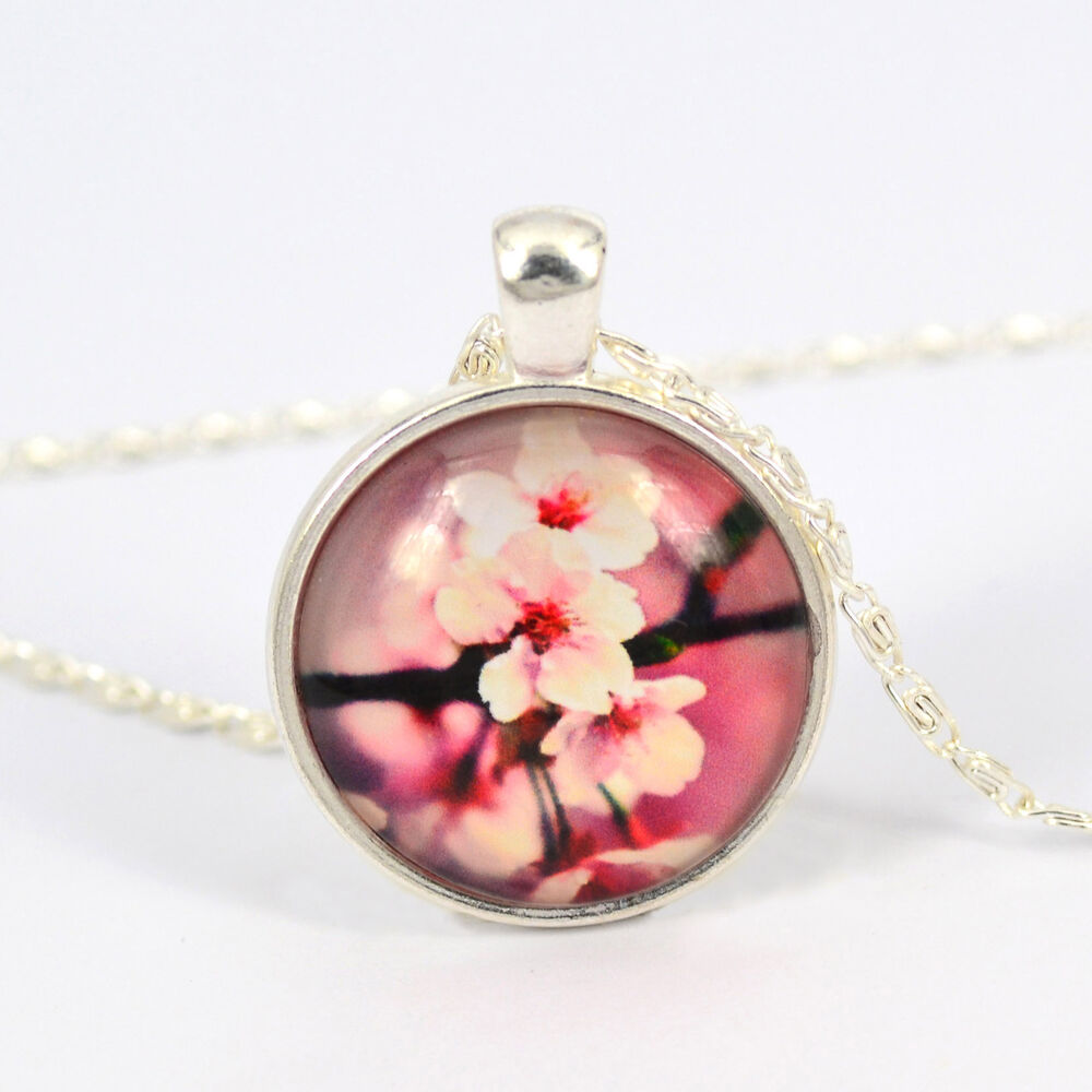 Silver Plated Vintage Flower Pattern Pendant Glass Dome Cabochon Charm Necklace Ebay