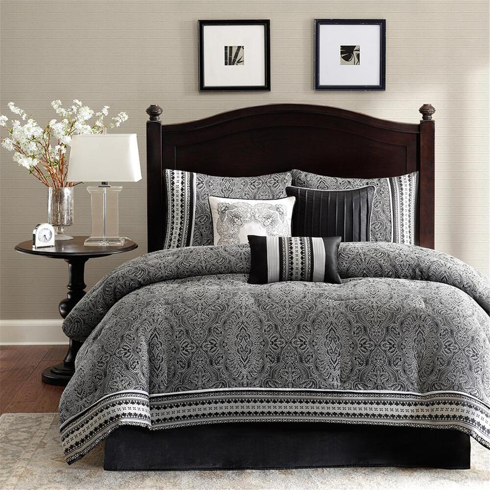 Beautiful 7pc modern elegant black white grey stripe for Elegant white comforter sets