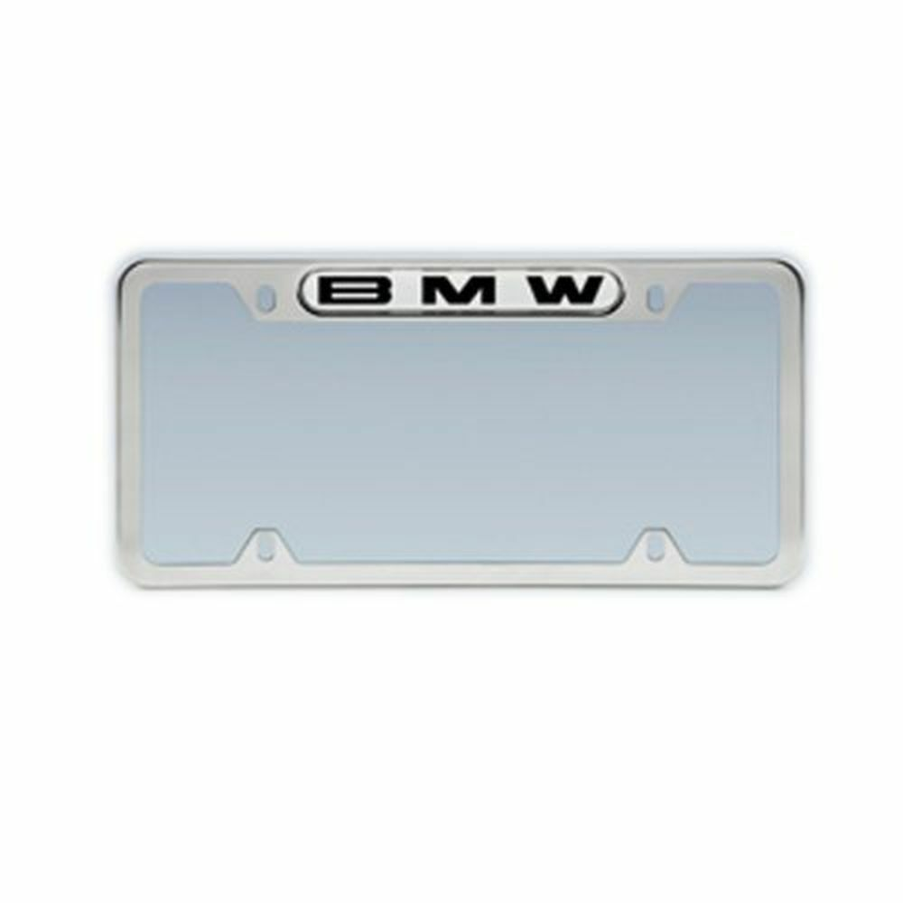 BMW Polished Stainless Steel License Plate Frame W/Domed