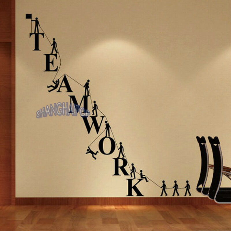 Teamwork letters wall sticker removable decal vinyl for Wallpaper design for office wall