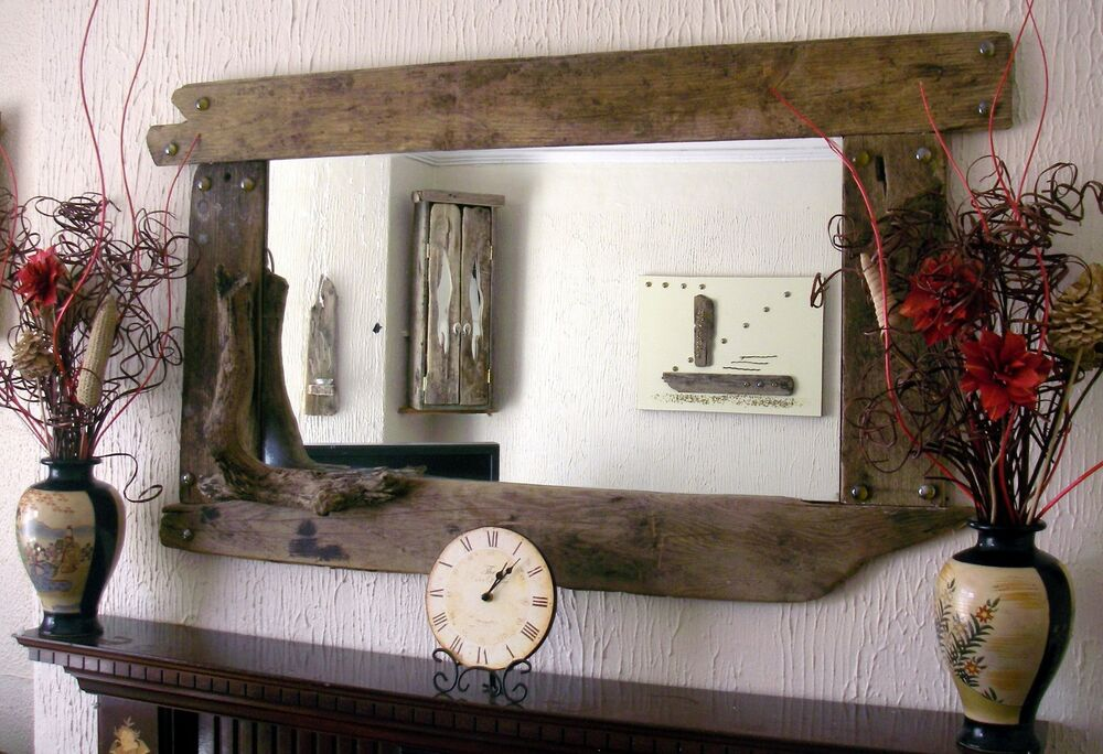 Large overmantle rustic driftwood mirror ebay