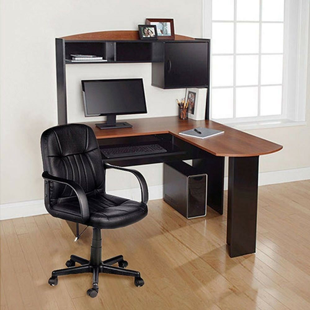 Computer desk chair corner l shape hutch ergonomic study for Home office workstation desk
