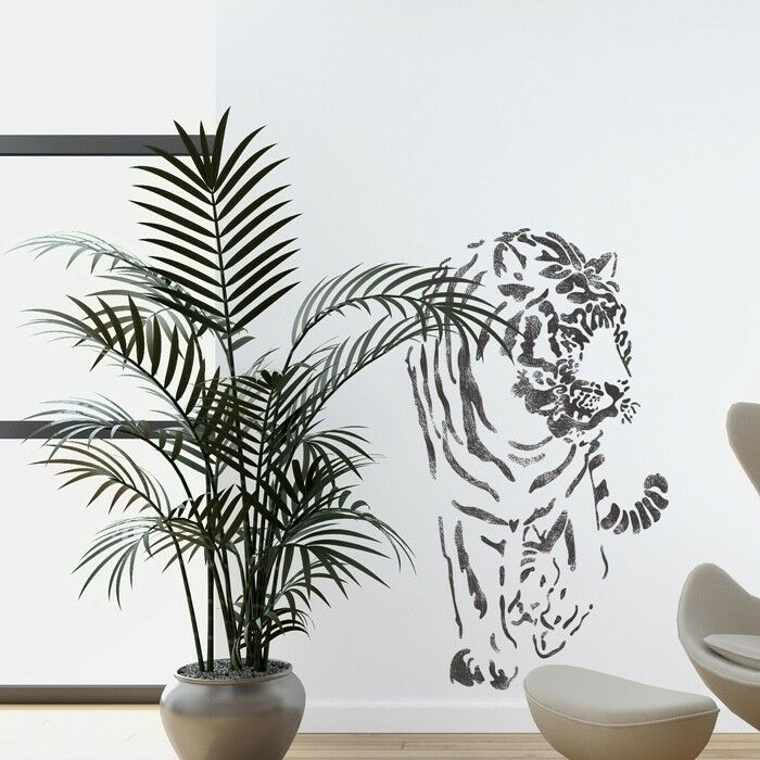 Wall stencils tiger large stencil template for wall for Wall art templates free