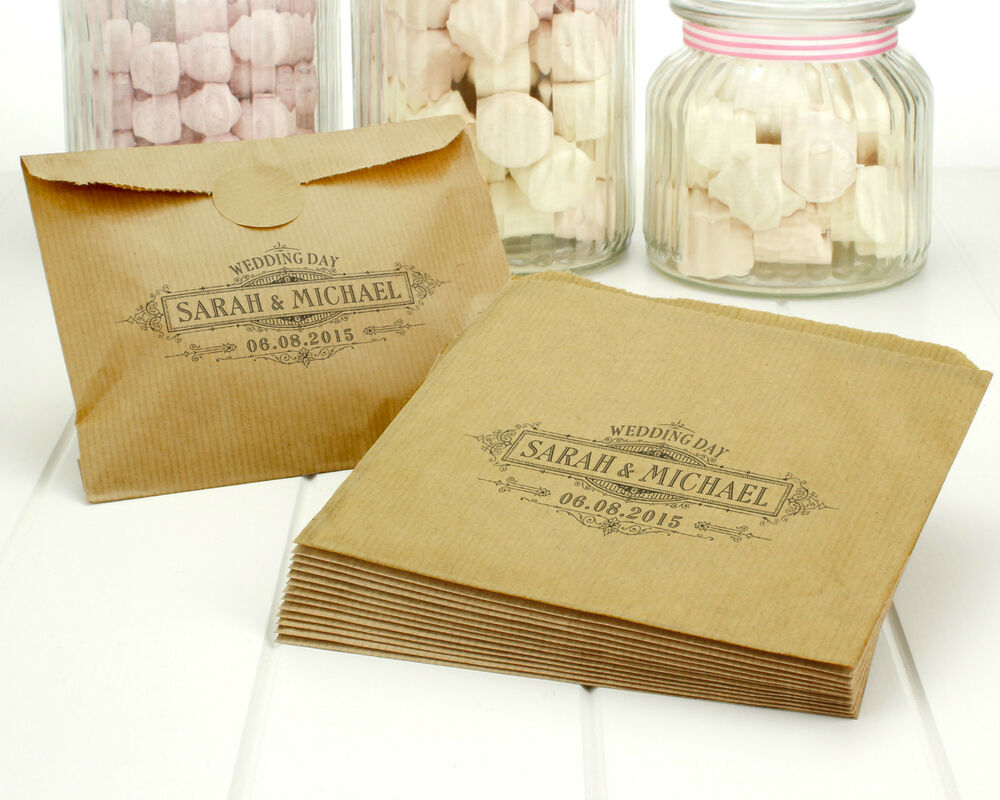 Personalised Wedding Favour Paper Bags : Personalised vintage wedding paper bags - brown ribbed kraft favour ...