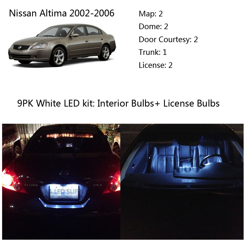 9pcs White Interior Led Kit Light Bulbs For Nissan Altima Sedan 2002 2006 Ebay