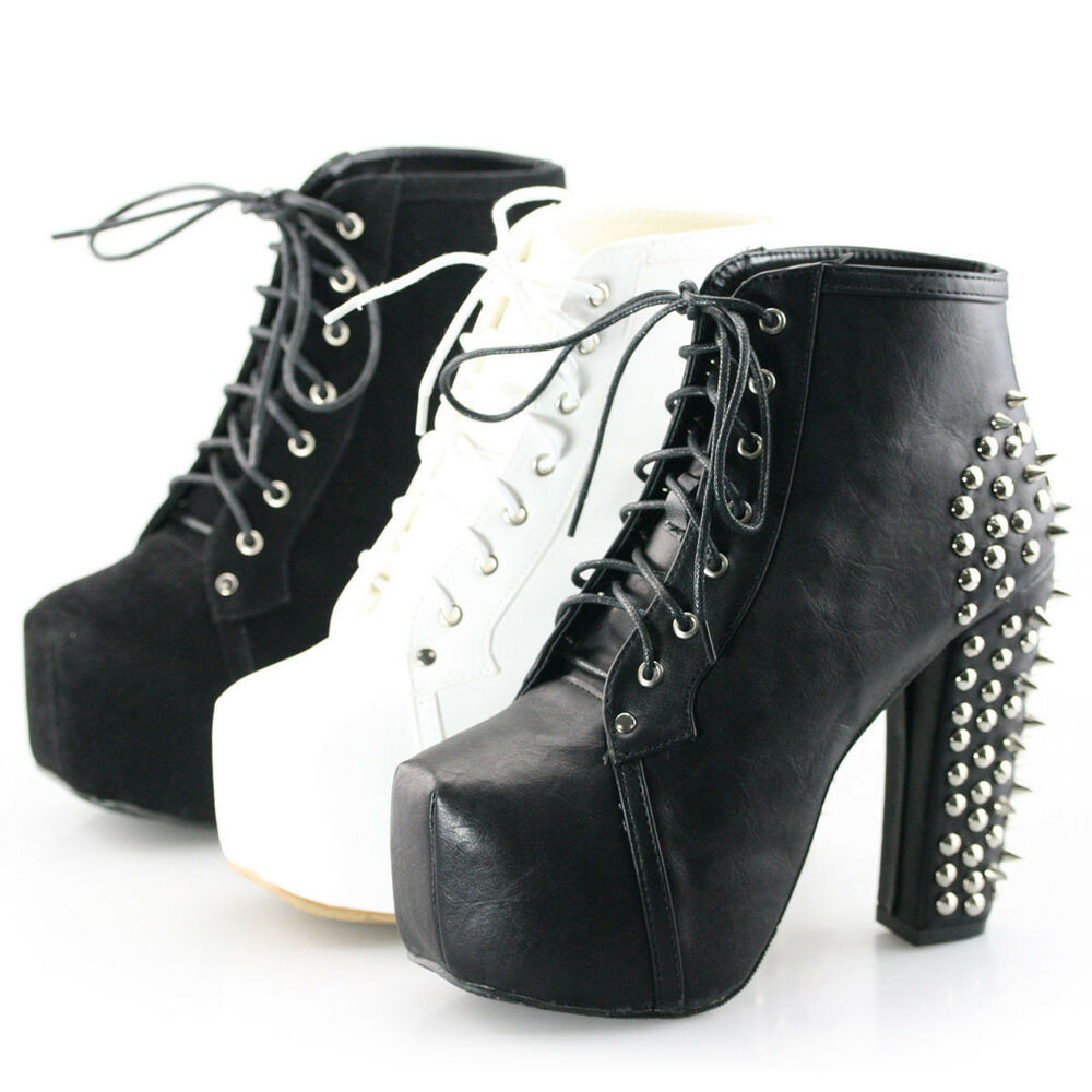 womens spike stud lace up block high-TOP platform boots ...