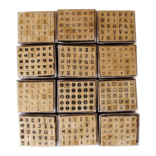 Dovecraft Mini Alphabet Rubber Stamps 30 Wood Mounted