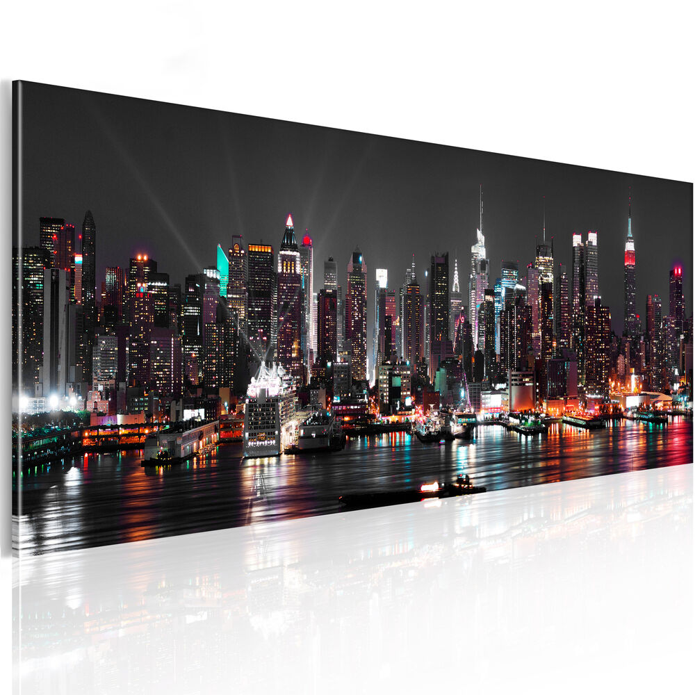 leinwand bilder xxl kunstdruck wandbilder new york stadt panorama d b 0087 b a ebay. Black Bedroom Furniture Sets. Home Design Ideas