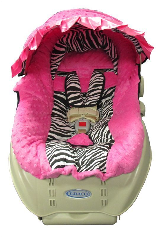 Hot Pink Minky And Zebra Baby Toddler Car Seat Cover And