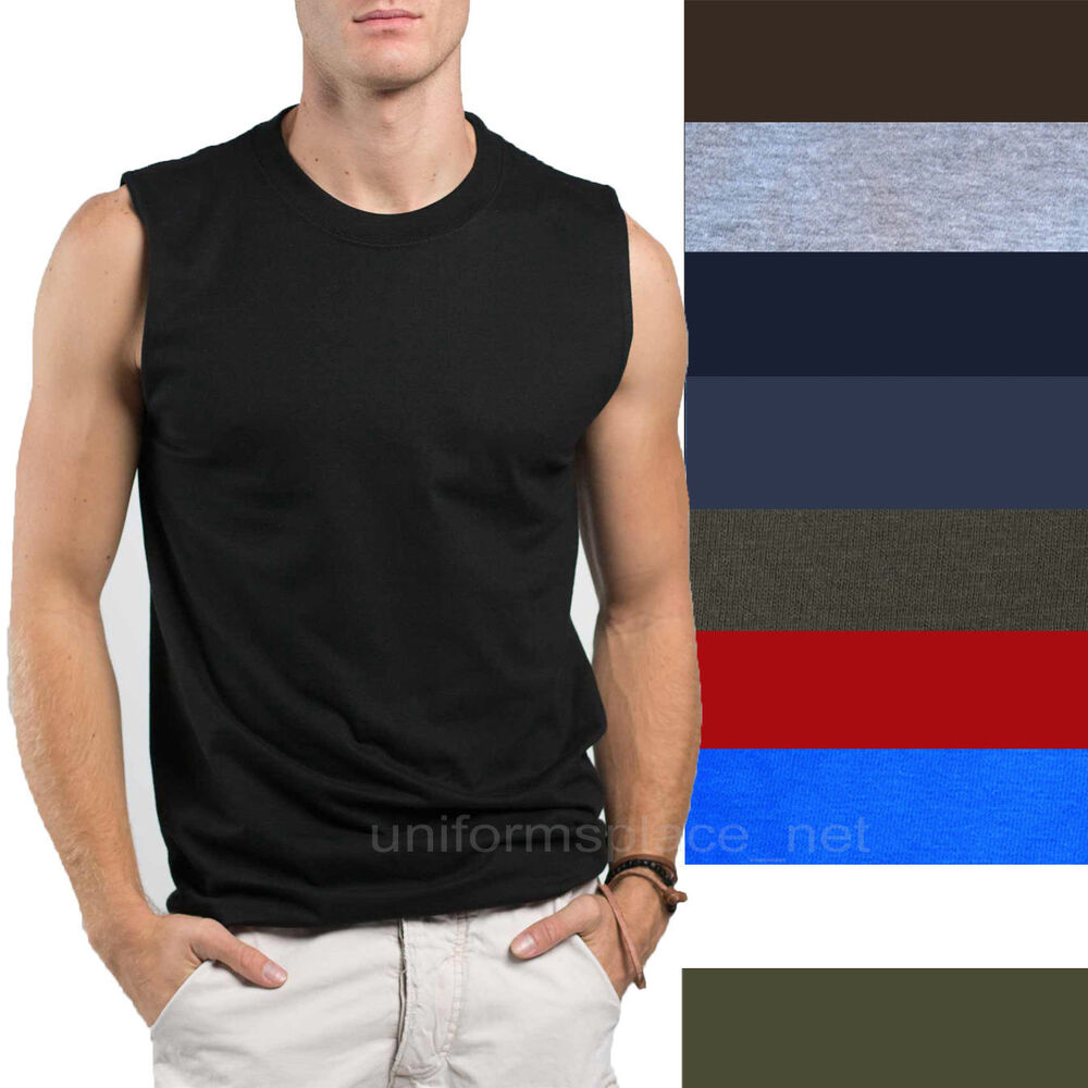 Mens T-Shirt TANK Cotton Sleeveless Muscle Tee Shirts Plain colors ...