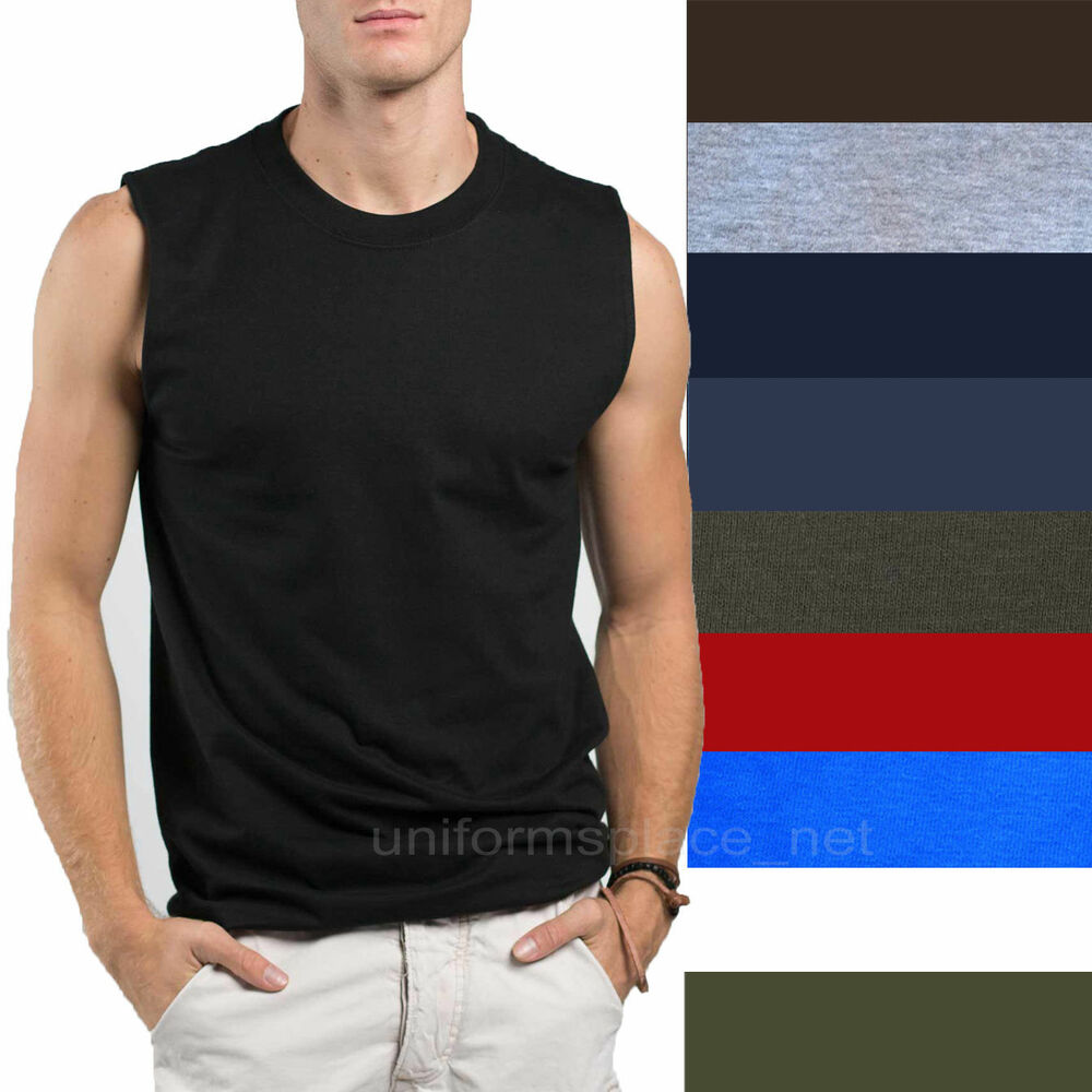 Details about Mens T-Shirt TANK Cotton Sleeveless Muscle Tee Shirts Plain  colors Size S - 3XL a14c7d71b105