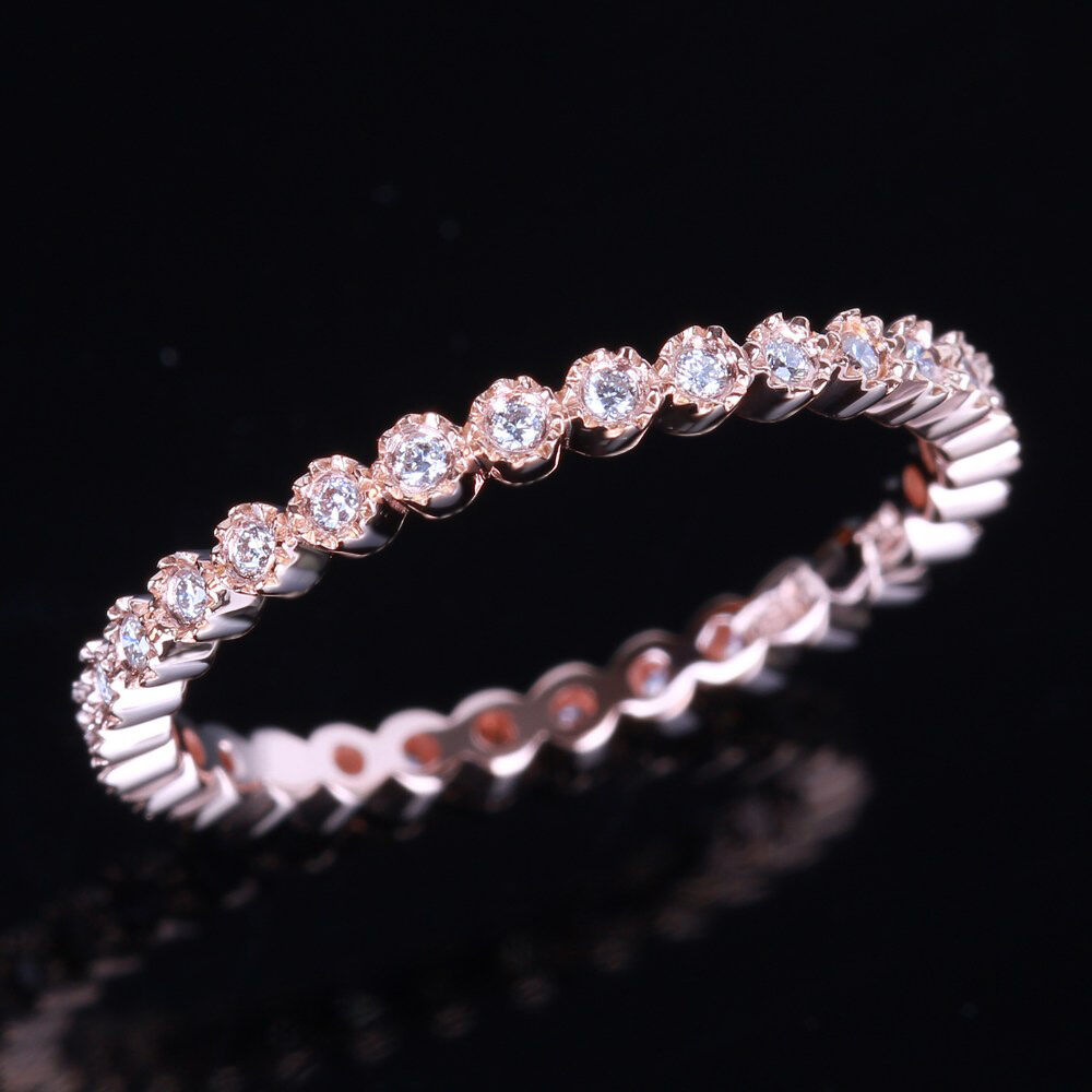 Diamond Full Eternity Band 10k Rose Gold Engagement Wedding Ring Bezel Setting