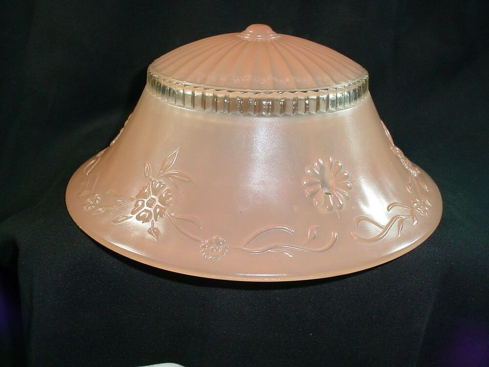 Vintage Art Deco 3 Chain Ceiling Light Shade Pink Glass Embossed Flowers 10 Quot Ebay