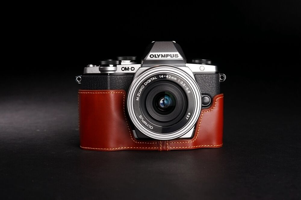 Genuine Real Leather Half Camera Case Bag Cover For