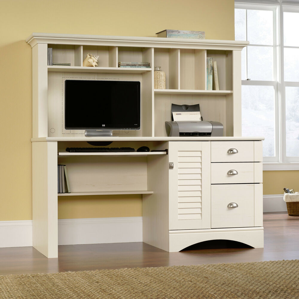 New Sauder Harbor View Computer Office Desk with Hutch Antiqued White