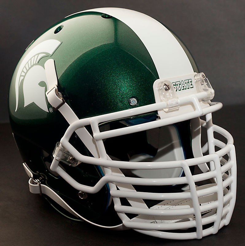Football Helmet Grill : Custom michigan state spartans schutt air xp replica