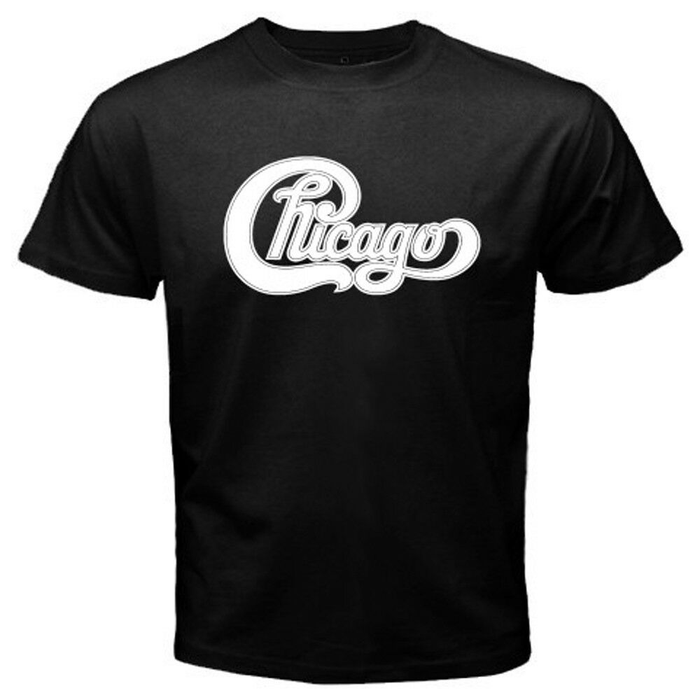 New chicago band classic logo concert tour men 39 s black t for Band t shirts for men