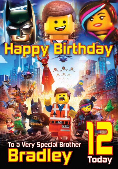 the lego movie birthday card personalised a large any name age  ebay, Birthday card
