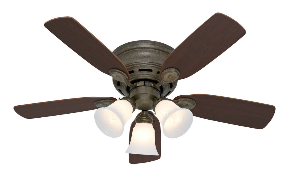 Gold Ceiling Fan : Hunter low profile provencial gold finish w