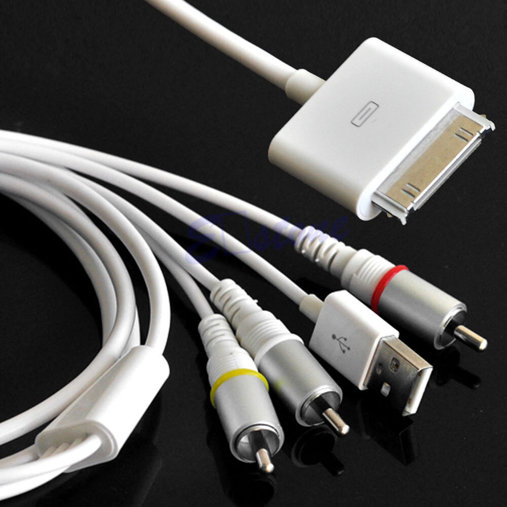 usb cable charger composite video to tv rca av for iphone 4s 4 ipad 3 2 touch ebay. Black Bedroom Furniture Sets. Home Design Ideas