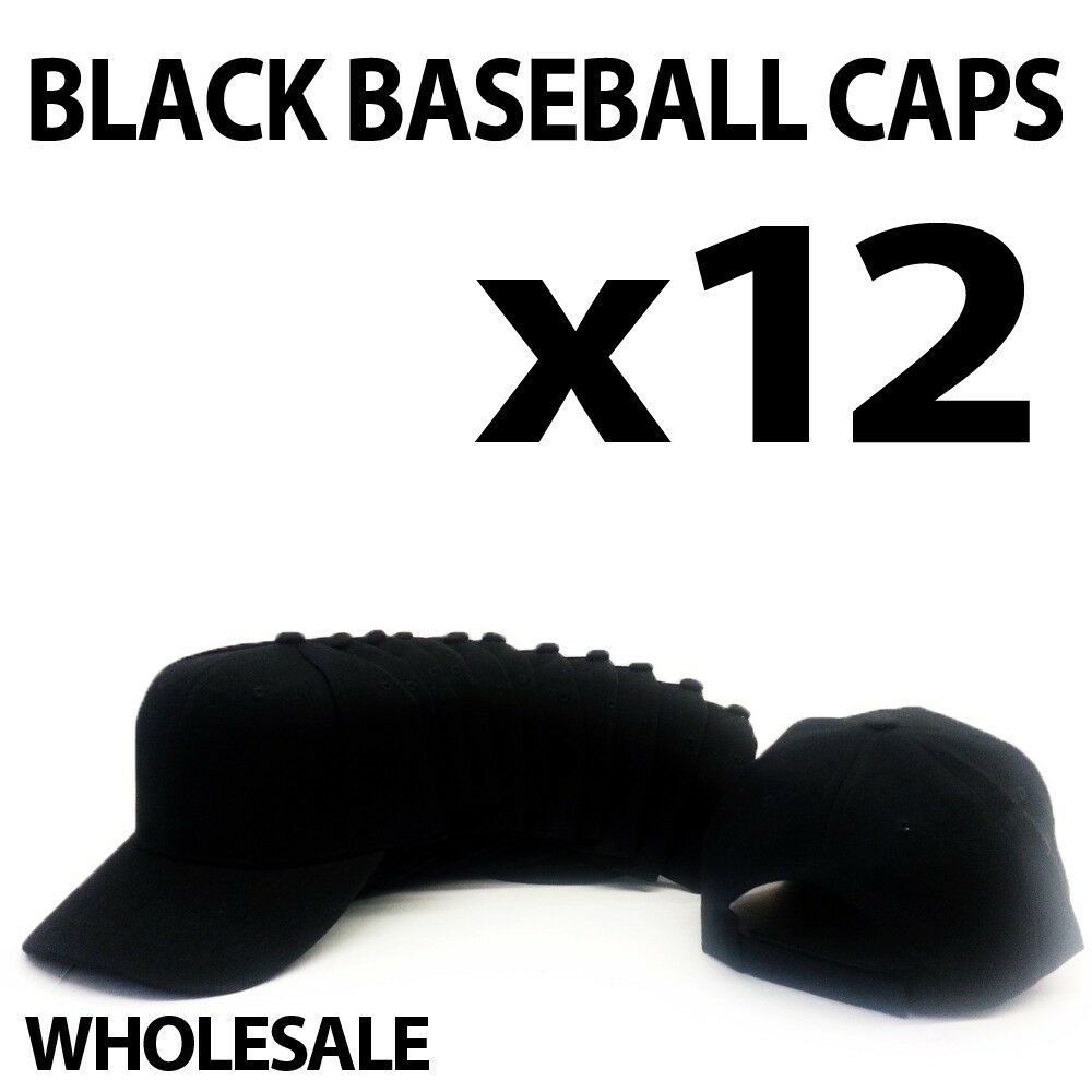 ***BLACK*** WHOLESALE LOT OF 12 PLAIN BLANK SOLID BASEBALL ...