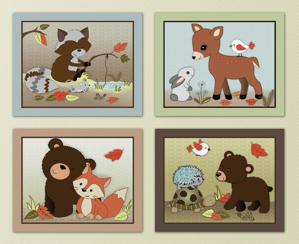 Forest friends woodland animal owl fox kids baby nursery for Animal themed bathroom decor