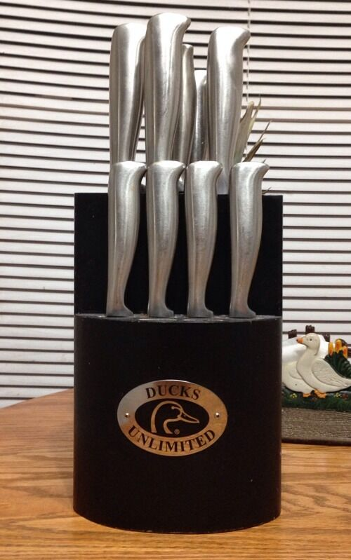 ducks unlimited laser etched stainless steel kitchen knife