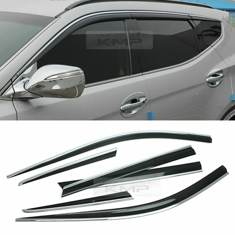 diamond window vent sun visor rain guard chrome line for hyundai 13