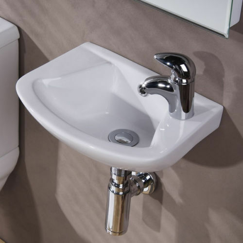 ... 360mm Small Wall Hung Cloakroom Basin Bathroom Sink 1 Tap Hole eBay