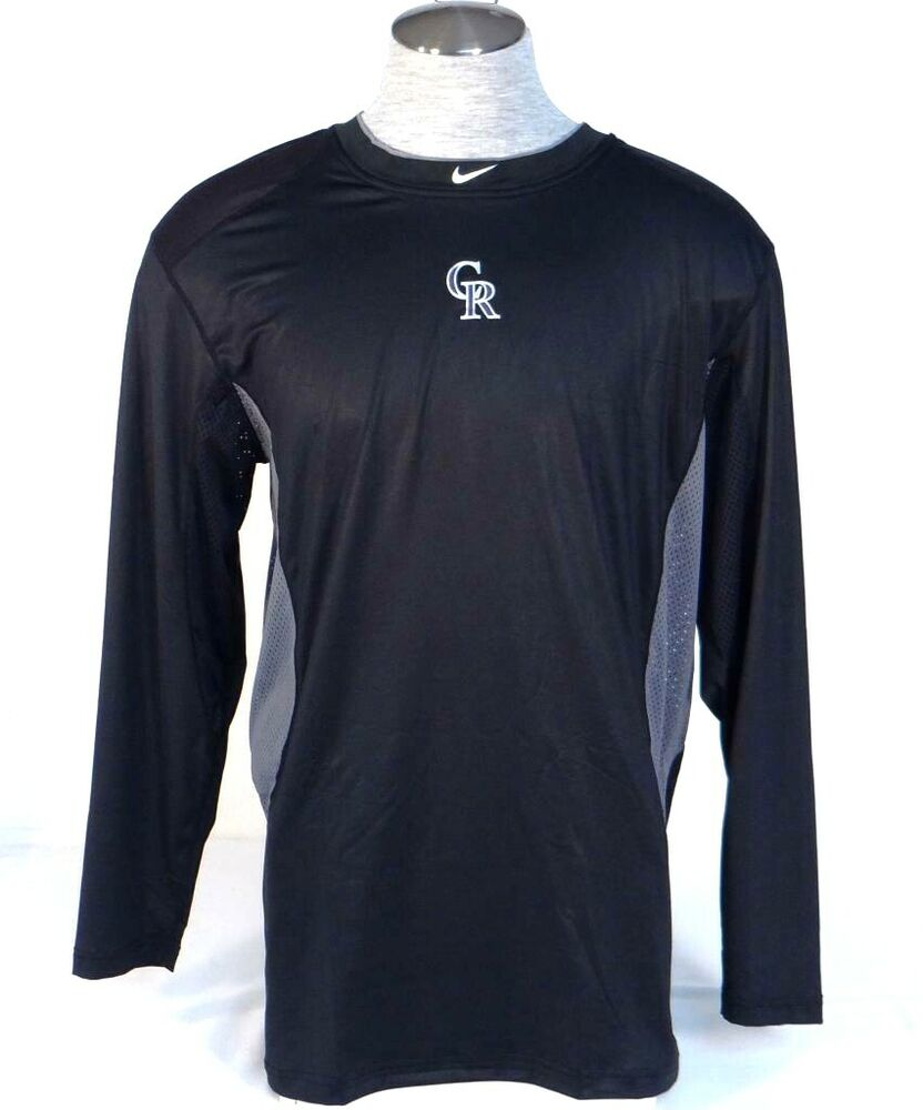8d33f20b3 Details about Nike Pro Combat Dri Fit Colorado Rockies Fitted Long Sleeve  Athletic Shirt Mens