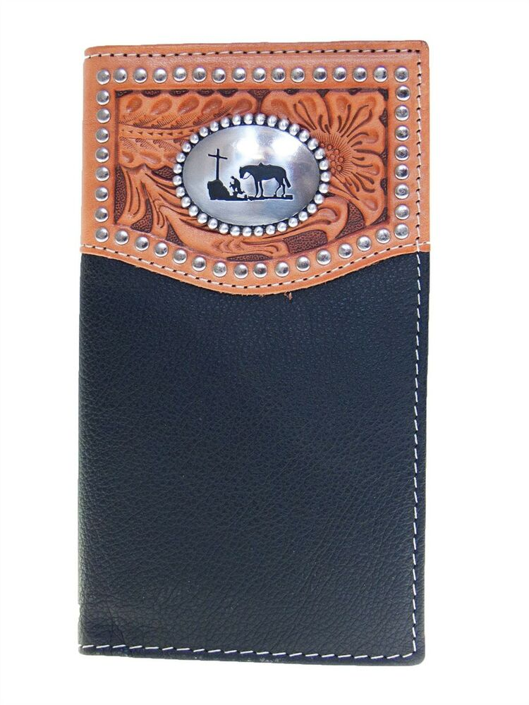 Nocona Mens Western Wallet Praying Cowboy Concho Rodeo Ebay