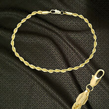 14K ITALY GOLD PLATED 3mm ROPE CHAIN 9.5