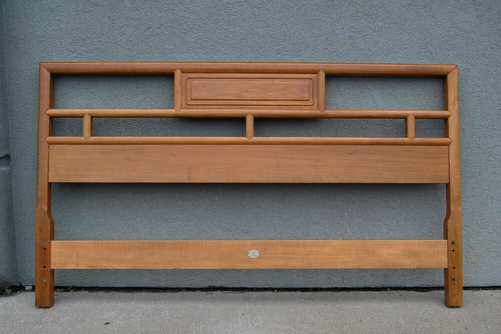 Baker Full Size Mid Century Cherry And Maple Headboard In Light Finish