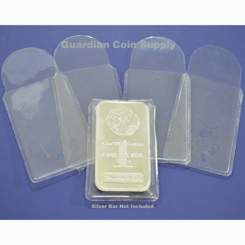 10 Vinyl Sleeves Holders For 1 Oz Silver Or Gold Bars Or