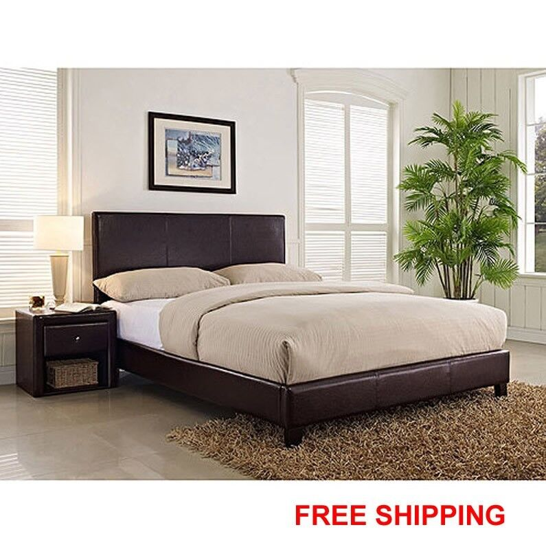 Full Bed And Queen Bed: Platform Bed Modern Faux Leather Upholstered Headboard