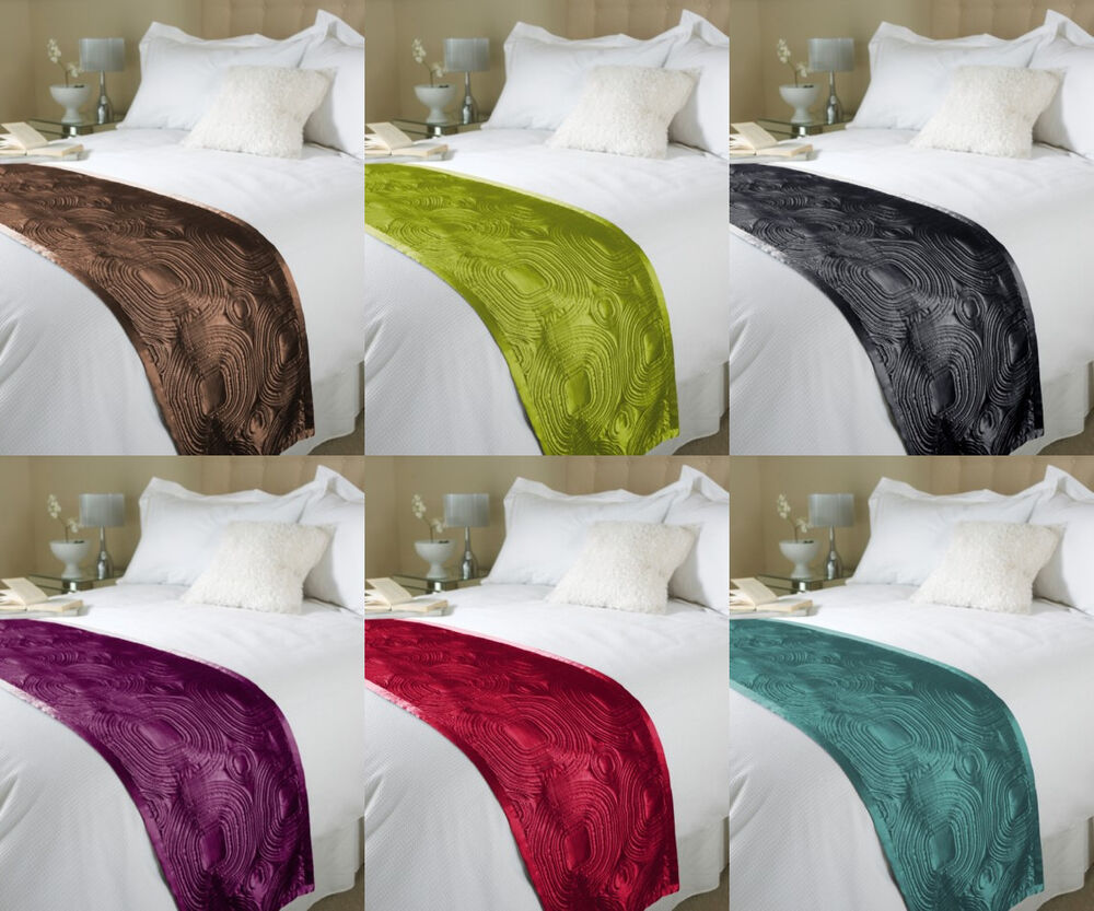 Embossed Satin Bed Runner Throw Bedding Duvet End Runner