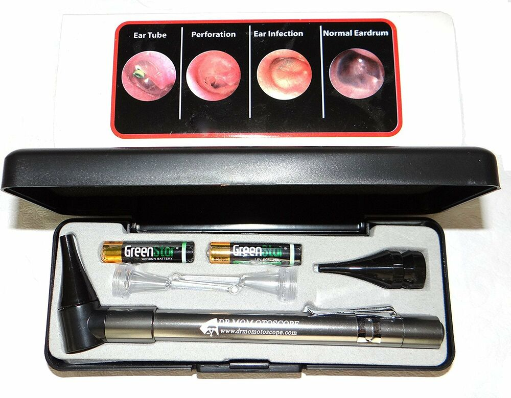 dr  mom slimline led otoscope in hard case w 2 lighted ear picks