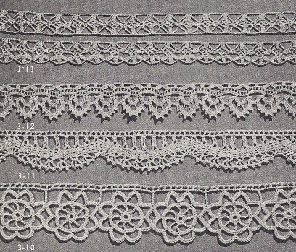 Crochet Lace Pattern For Edging : Vintage Crochet PATTERN to make 4 Special Lace Edging ...