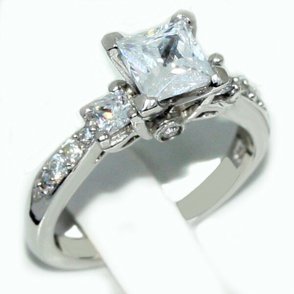 silver engagement ring past present future cz princess 925