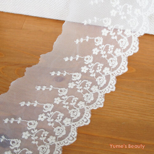 Embroidery Net Lace Border Trim Scalloped U0026 Roses | EBay
