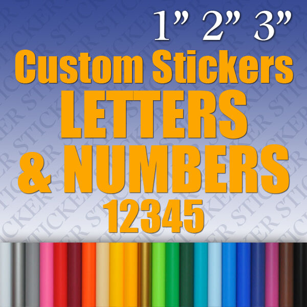 Custom vinyl stickers letters numbers labels decals for Window cling letters and numbers