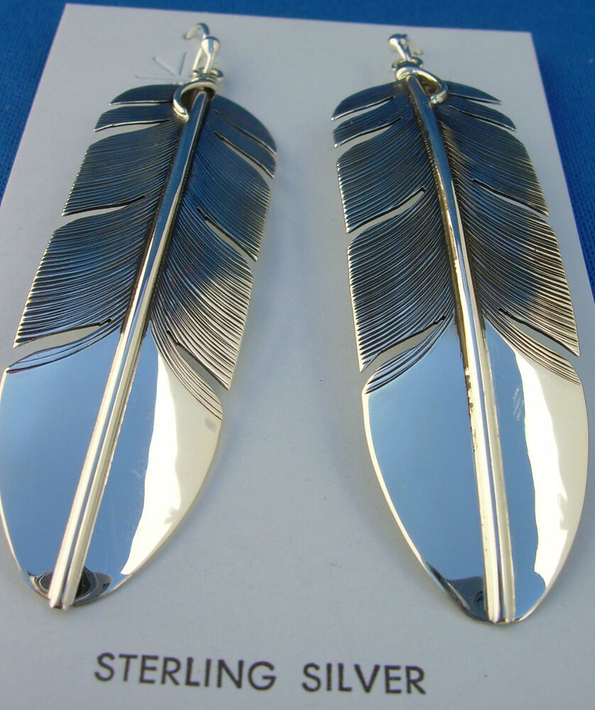 Navajo native american sterling silver feather earrings by for Native american feather jewelry