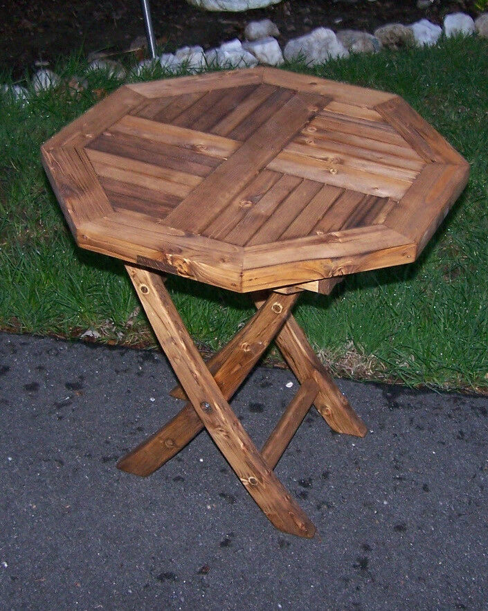 Hexagon Octagon rustic stained wood wooden Fold Side Table ...