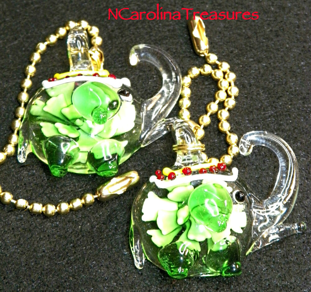 Large Glass Ceiling Fan Pulls: ART GLASS CEILING FAN CHAIN LIGHT SWITCH PULL GREEN FLORAL