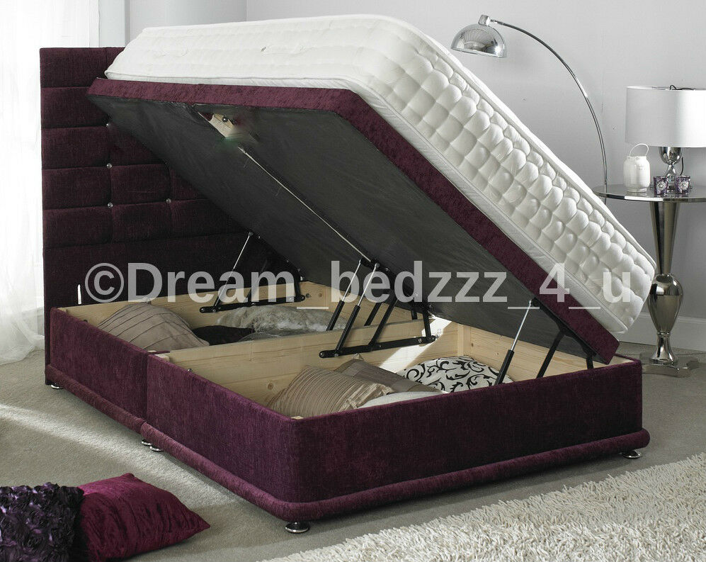 Storage ottoman divan chenille 3ft single double 4 39 6 5ft for Single divan bed base with storage