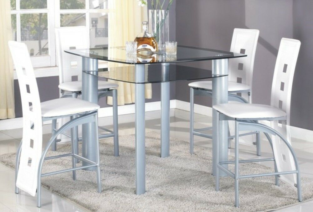5pc Metal Tempered Glass Top Pub Set, A Table With 4 Pub